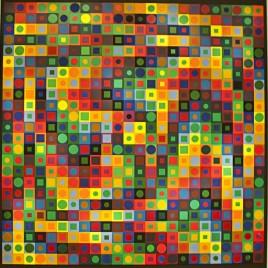 Quadrillage de 576 carrés (24x24) de couleurs, avec un cercle coloré dans chacun d'eux.
