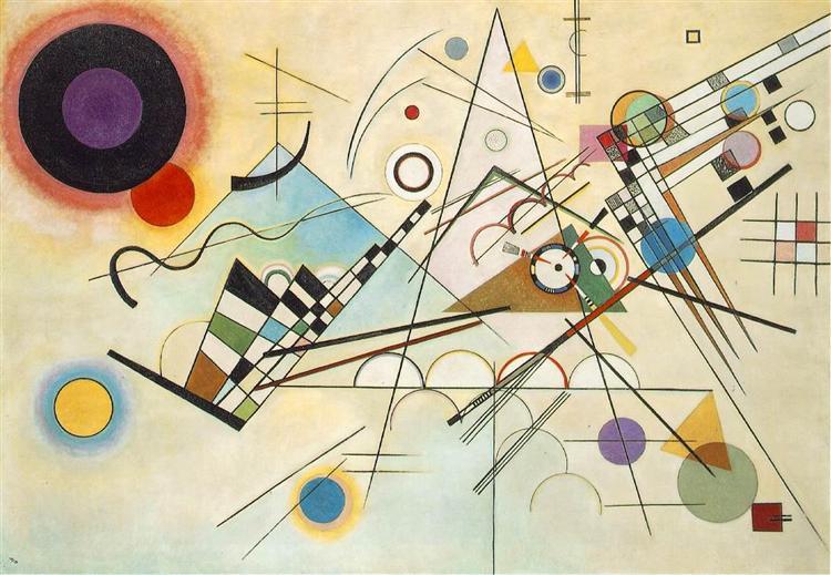 Tableau abstrait composé d'une succession de formes géométriques et de lignes sur des dégradés légers