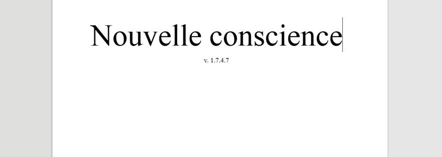 Première page du roman Nouvelle Conscience